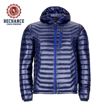 Mens Brand Blue Ultralight Down Jacket with Hood Wholesale for Winters