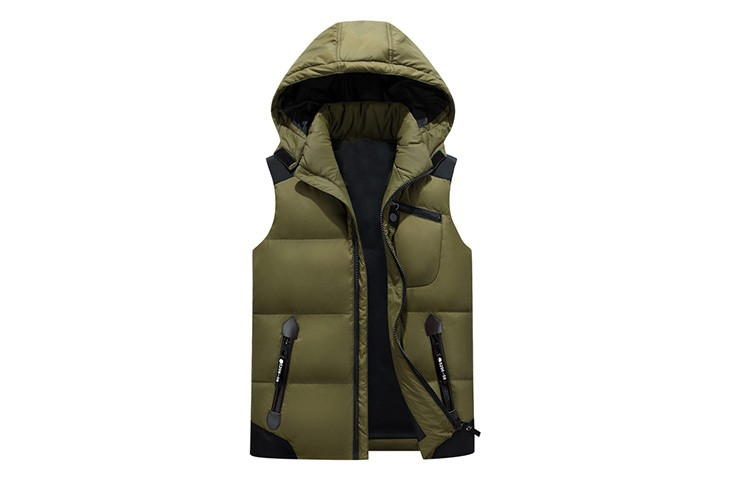 Mens Fashion Down Vest Nylon Sleeveless Down Vest Comfortable Padded Vest with Hood